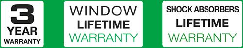Logo 3 ans Vitre garantie à vie EN
